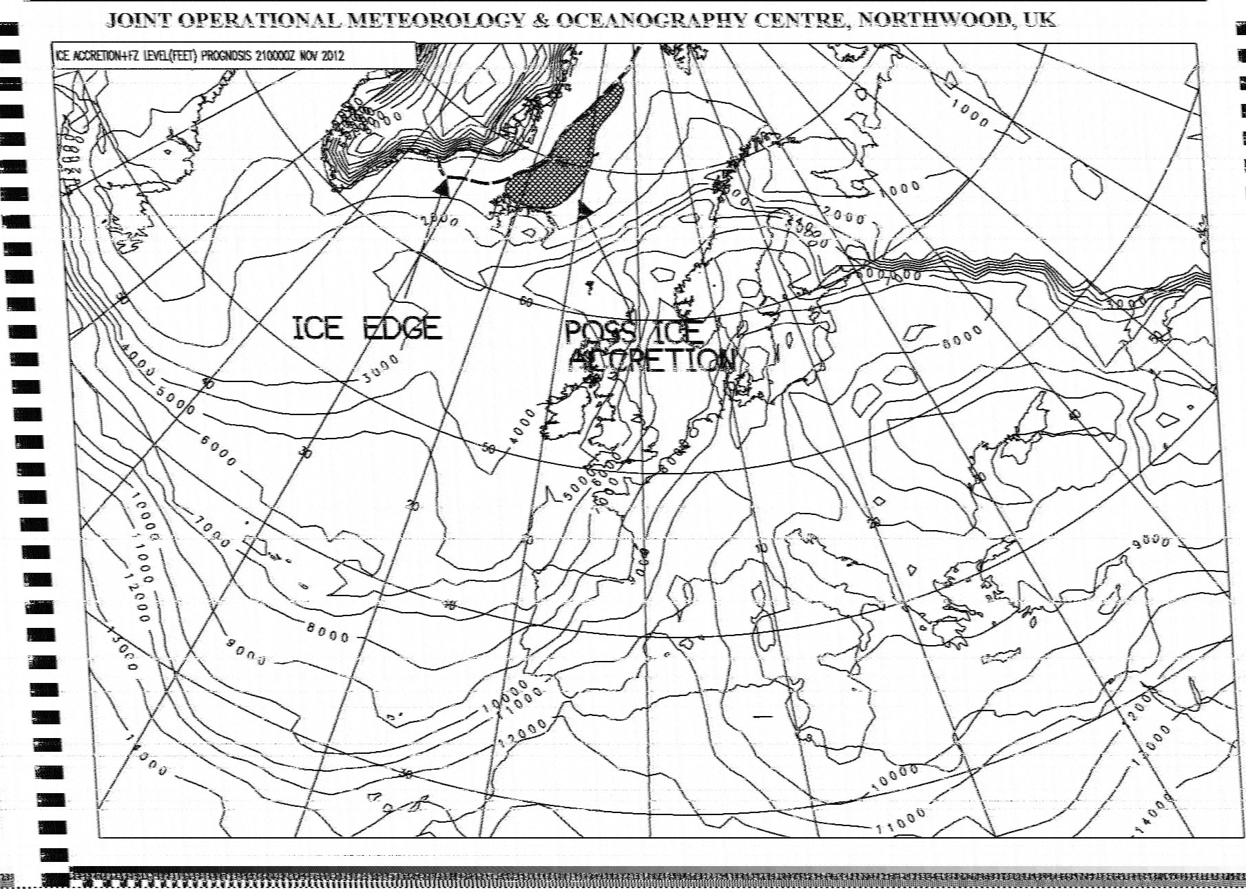 Typical HF weather fax image received using JRC NRD-525